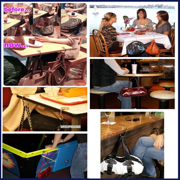 Accroche porte sac à main pliant avec strass, crochet de sac
